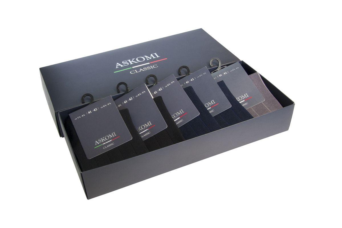 Носки мужские, 5 пар. AMN-7119AMN-7119Стильный подарочный набор из классических цветов в вертикальную полоску на оттенок светлее.