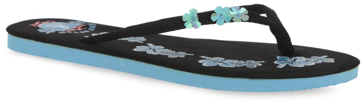 Сланцы женские Hawai. MSW77_HAWAI_BLACKMSW77_HAWAI_BLACK/NAVYЧудесные и очень легкие сланцы от Mon Ami придутся вам по душе. Верх модели выполнен из текстильного материала и оформлен на ремешке цветочной аппликацией. Ремешки с перемычкой гарантируют надежную фиксацию изделия на ноге. Верхняя часть подошвы, изготовленная из текстиля, декорирована оригинальной цветочным принтом. Рельефное основание подошвы из ЭВА материала обеспечивает уверенное сцепление с любой поверхностью. Материал ЭВА имеет пористую структуру, обладает великолепными теплоизоляционными и морозостойкими свойствами, 100% водонепроницаемостью, придает обуви амортизационные свойства, мягкость при ходьбе, устойчивость к истиранию подошвы. Удобные сланцы прекрасно подойдут для похода в бассейн или на пляж.