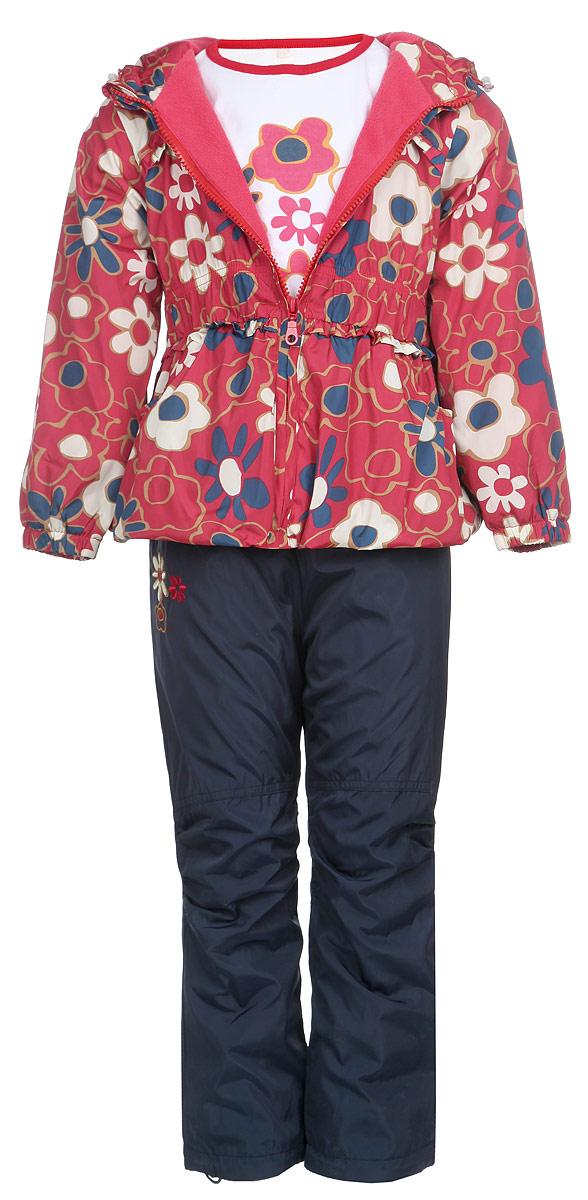 Комплект для девочки: ветровка, брюки, лонгслив. 104511RD-7104511RD-7Красивый комплект для девочки M&D, состоящий из ветровки, брюк и лонгслива, идеально подойдет для вашего ребенка в прохладную погоду. Ветровка изготовлена из полиэстера с мягкой флисовой подкладкой. Модель с несъемным капюшоном застегивается на пластиковую молнию с защитой подбородка. Капюшон по краю дополнен затягивающимся шнурком со стопперами. Низ рукавов присборен на резинки. Линия талии также дополнена резинкой. Спереди расположены два втачных кармана. Оформлена ветровка цветочным принтом, украшена оборкой. Брюки выполнены из полиэстера с подкладкой из натурального хлопка. Модель прямого кроя на талии имеет широкую резинку, благодаря чему брюки не сдавливают животик ребенка и не сползают. По бокам расположены два втачных кармана. По низу брючин предусмотрена утяжка в виде резинок со стопперами. Изделие украшено цветочной вышивкой. Лонгслив изготовлен из натурального хлопка. Модель с круглым вырезом горловины оформлена на груди цветочным...