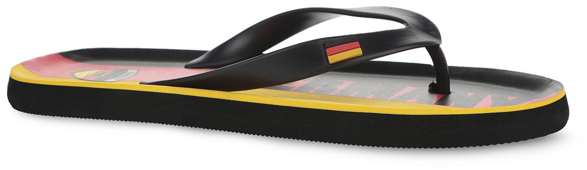 2_GERMANY_1_BLACKСтильные и очень легкие сланцы Germany от Mon Ami придутся вам по душе. Верх модели выполнен из ПВХ и оформлен на ремешке декоративным элементом в виде флага Германии. Ремешки с перемычкой гарантируют надежную фиксацию изделия на ноге. Верхняя часть подошвы, изготовленная из ЭВА материала, декорирована оригинальным принтом. Материал ЭВА имеет пористую структуру, обладает великолепными теплоизоляционными и морозостойкими свойствами, 100% водонепроницаемостью, придает обуви амортизационные свойства, мягкость при ходьбе, устойчивость к истиранию подошвы. Рельефное основание подошвы обеспечивает уверенное сцепление с любой поверхностью. Удобные сланцы прекрасно подойдут для похода в бассейн или на пляж.