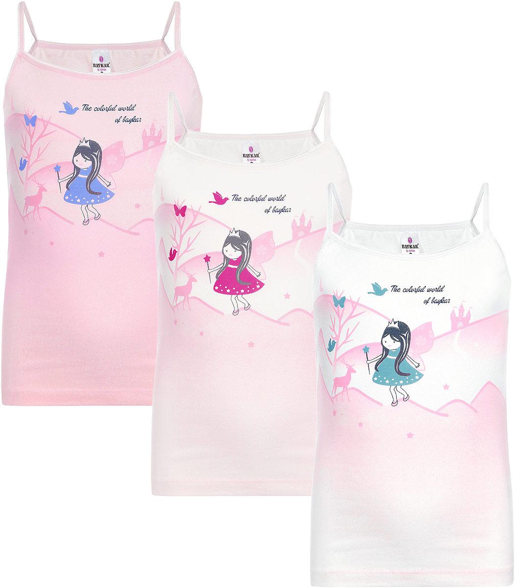 Майка для девочки, 3 шт. N4286-22N4286-22Майка для девочки Baykar станет модным и стильным предметом детского гардероба. Изготовленная из эластичного хлопка, она необычайно мягкая и приятная на ощупь, не сковывает движения и позволяет коже дышать, не раздражает даже самую нежную и чувствительную кожу ребенка, обеспечивая ему наибольший комфорт. Модель на бретелях с круглым вырезом горловины имеет слегка приталенный крой. Горловина и проймы рукавов обработаны тонкой эластичной резинкой. Оформлено изделие принтом с изображением феи и надписью The Colorful World of Baykar. В этой майке ваша маленькая принцесса будет чувствовать себя уютно и комфортно. В комплект входят три маечки, выполненные в разных цветах.