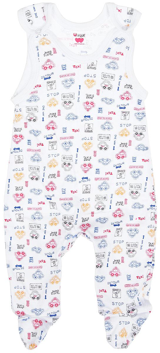 ПолзункиU0076-1Ползунки с грудкой Unigue - очень удобный и практичный вид одежды для малышей. Они отлично сочетаются с футболками и кофточками, подходят для ношения с подгузником и без него. Ползунки выполнены из натурального хлопка, благодаря чему они очень мягкие и приятные на ощупь, не раздражают нежную кожу ребенка и хорошо вентилируются, обеспечивая комфорт. Ползунки с закрытыми ножками застегиваются сверху на две кнопки, также имеют застежки-кнопки на ластовице, что помогает с легкостью переодеть ребенка. Вырез горловины и проймы оформлены окантовкой. Изделие украшено принтом с изображением машинок и надписей. Ползунки полностью соответствуют особенностям жизни младенца в ранний период, не стесняя и не ограничивая его в движениях.