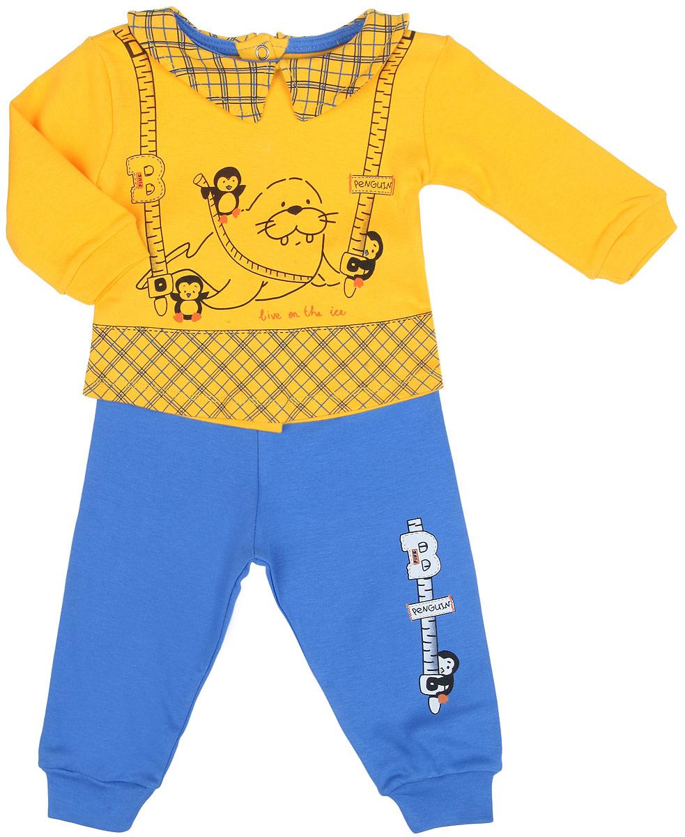 Комплект одежды2183-10Комплект одежды для девочки Bay & Bay станет отличным дополнением к гардеробу маленькой принцессы. Он включает в себя кофточку и штанишки. Комплект, изготовленный из эластичного хлопка, мягкий, не раздражает нежную кожу ребенка и хорошо вентилируется, обеспечивая комфорт. Кофточка с отложным воротником и длинными рукавами застегивается сзади на металлические кнопки, что позволит легко переодеть малышку. Рукава дополнены мягкими манжетами, не пережимающими ручки крохи. Оформлена модель принтом в клетку, украшена изображением морских обитателей. Штанишки имеют на поясе мягкую эластичную резинку, благодаря чему они не сдавливают животик ребенка и не сползают. На брючинах предусмотрены манжеты. Оформлено изделие принтом с изображением пингвина. В таком комплекте ребенок всегда будет в центре внимания!