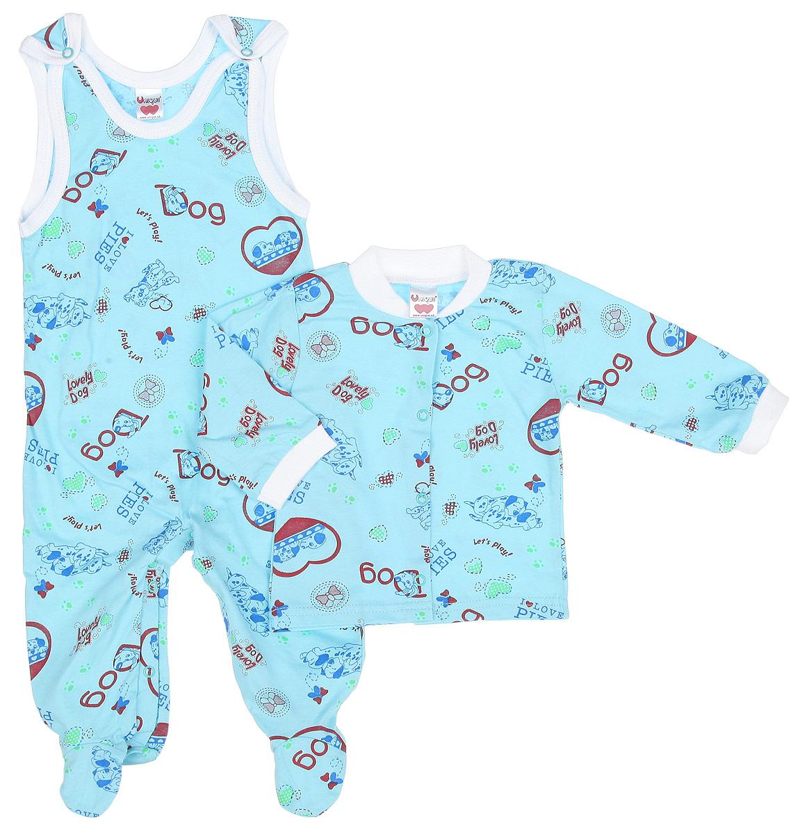 U0151-28Детский комплект одежды Unigue станет отличным дополнением к гардеробу ребенка. Он включает в себя кофточку и ползунки с грудкой. Комплект, изготовленный из натурального хлопка, легкий, мягкий, не раздражает нежную кожу ребенка и хорошо вентилируется, обеспечивая комфорт. Кофточка с небольшим воротником-стойкой и длинными рукавами застегивается спереди на металлические кнопки, что позволит легко переодеть младенца. Воротник выполнен из мягкой трикотажной резинки. Рукава дополнены эластичными манжетами, не пережимающими ручки крохи. Ползунки с закрытыми ножками застегиваются сверху на две кнопки, также имеют застежки-кнопки на ластовице, что помогает при переодевании ребенка. Вырез горловины и проймы оформлены окантовкой. Комплект украшен принтом с изображением забавных собачек и надписями. Комплект полностью соответствует особенностям жизни младенца в ранний период, не стесняя и не ограничивая его в движениях. В нем ваш ребенок всегда будет в...