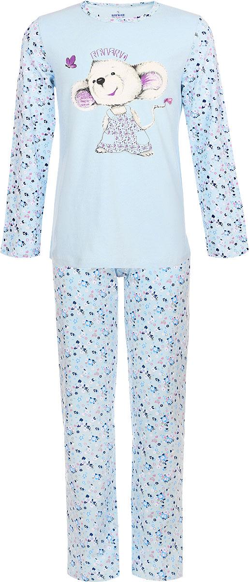 Пижама для девочки. 9014N9014-17/NA9014-17Мягкая пижама для девочки Baykar, состоящая из футболки с длинным рукавом и брюк, идеально подойдет ребенку для отдыха и сна. Модель выполнена из эластичного хлопка, очень приятная к телу, не сковывает движения, хорошо пропускает воздух. Футболка с круглым вырезом горловины и длинными рукавами оформлена цветочным принтом. Модель украшена изображением забавной мышки и небольшим атласным бантиком. Брюки на талии имеют мягкую резинку, благодаря чему они не сдавливают животик ребенка и не сползают. Изделие оформлено цветочным принтом. В такой пижаме ребенок будет чувствовать себя комфортно и уютно!
