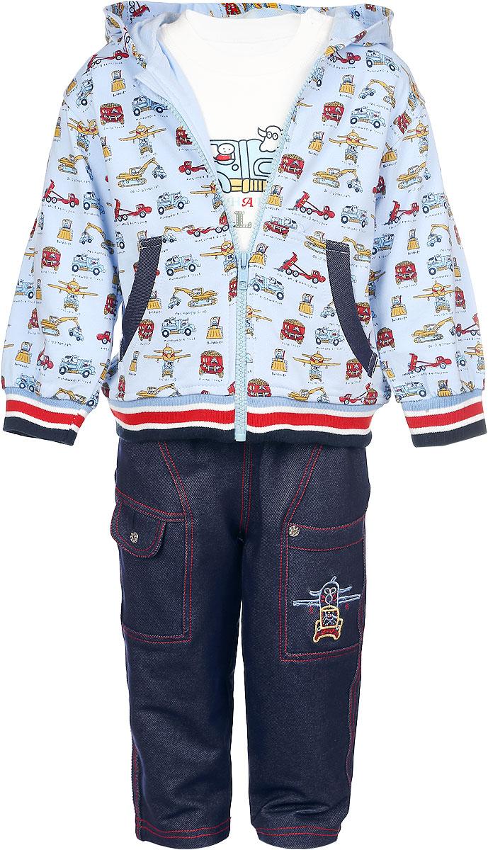 Комплект одежды1329A-10Комплект одежды для мальчика M&D, состоящий из толстовки, брюк и лонгслива, станет отличным дополнением к детскому гардеробу. Изготовленный из натурального хлопка, он очень мягкий и приятный на ощупь, не сковывает движения и позволяет коже дышать, обеспечивая комфорт. Толстовка с капюшоном и длинными рукавами застегивается на пластиковую застежку-молнию с защитой подбородка. Лицевая сторона изделия гладкая, изнаночная - с небольшими петельками. Спереди расположены два накладных кармашка. На рукавах имеются мягкие манжеты, не стягивающие запястья. Понизу модель дополнена широкой трикотажной резинкой. Толстовка оформлена принтом с изображением различных машин. Брюки имеют эластичный пояс, не сдавливающий животик ребенка. Спереди предусмотрены два втачных кармана. Изделие украшено контрастной прострочкой, металлическими клепками и вышитым рисунком. Лонгслив с круглым вырезом горловины застегивается на пуговицы по плечевому шву, что помогает при ...
