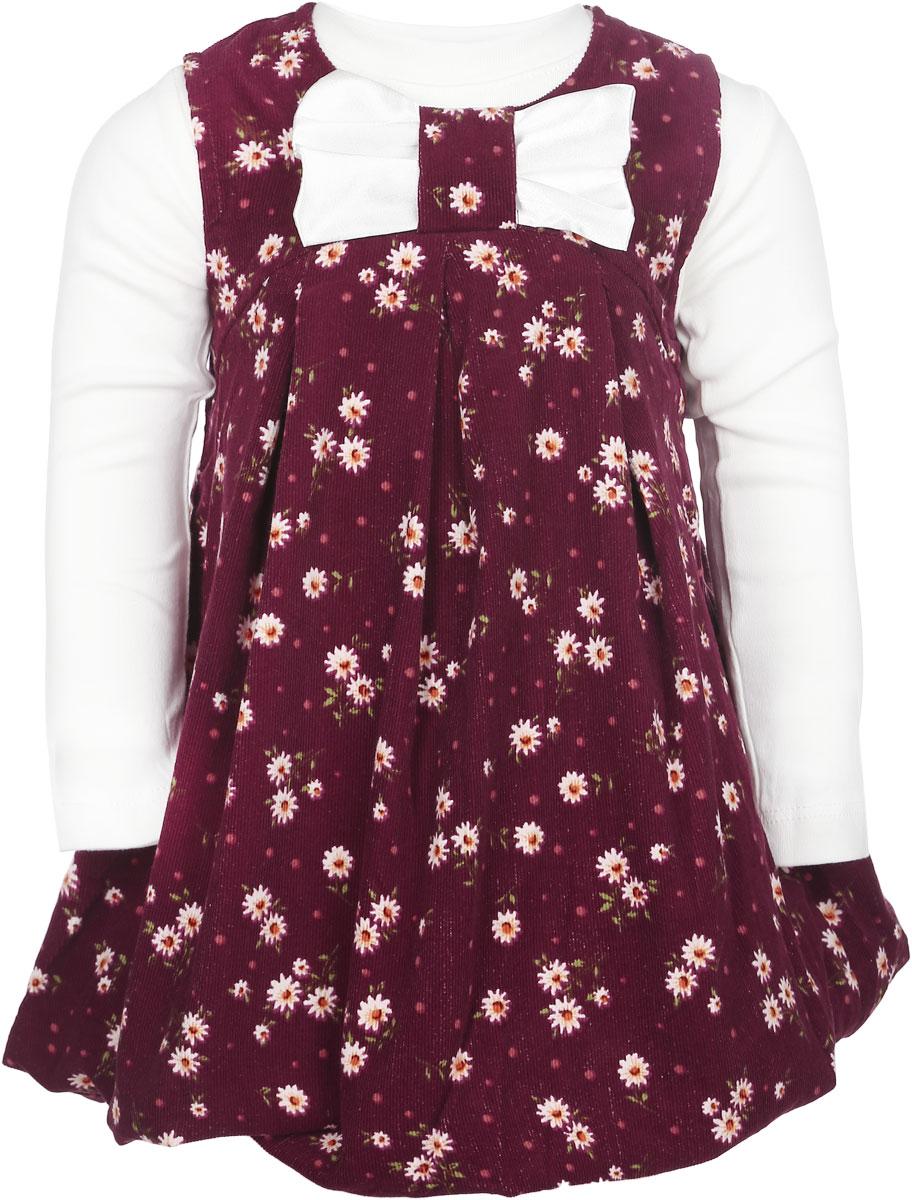 Комплект одежды003190-29Комплект одежды для девочки Pink Girls включает в себя сарафан и футболку с длинным рукавом. Комплект изготовлен из натурального хлопка, мягкий и приятный на ощупь, не сковывает движения и позволяет коже дышать. Сарафан на хлопковой подкладке выполнен из мягкой вельветовой ткани, оформленной цветочным принтом. Модель с круглым вырезом горловины застегивается сзади на пластиковую молнию, что помогает при переодевании малышки. От линии груди заложены крупные складки, придающие изделию пышность. Сарафан украшен атласным бантом в тон к футболке. Однотонная футболка с длинным рукавом имеет круглый вырез горловины, дополненный мягкой трикотажной резинкой. В таком комплекте одежды маленькая модница будет чувствовать себя комфортно, уютно, а также всегда будет в центре внимания!