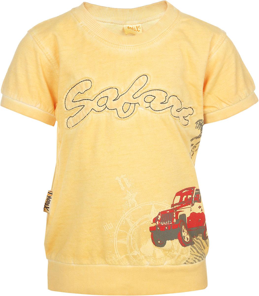 Футболка3055-10Яркая футболка для мальчика Modax станет стильным дополнением к гардеробу маленького модника. Изготовленная из натурального хлопка, она необычайно мягкая, тактильно приятная, не сковывает движения ребенка и позволяет коже дышать, обеспечивая комфорт. Футболка с короткими рукавами имеет круглый вырез горловины, оформленный трикотажной резинкой. Края рукавов и низ изделия также дополнены трикотажными резинками. Модель украшена крупной нашивкой в виде надписи, а также принтом. Современный дизайн и расцветка делают эту футболку модным предметом детской одежды. В ней ваш ребенок будет чувствовать себя уютно, комфортно и всегда будет в центре внимания!