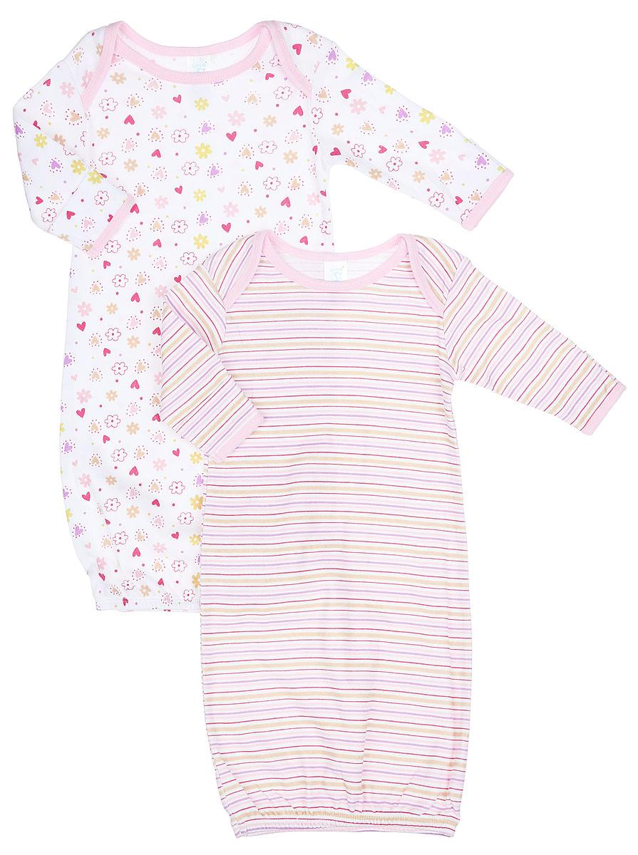 Ночная рубашкаGO A1PНочная сорочка для девочки Spasilk - прекрасный выбор для сна и отдыха младенца. Изготовленная из натурального хлопка, она необычайно мягкая и приятная на ощупь, не сковывает движения малышки и позволяет коже дышать, не раздражает даже самую нежную и чувствительную кожу ребенка, обеспечивая ему наибольший комфорт. Сорочка с длинными рукавами и круглым вырезом горловины имеет запахи на плечах, что помогает с легкостью переодеть малышку. Понизу изделие дополнено широкой трикотажной резинкой. Свободный крой создает комфорт и уют малышке и сохраняет тепло. Ночная сорочка полностью соответствует особенностям жизни ребенка, не стесняя и не ограничивая его в движениях. В комплект входят две ночные сорочки с разными принтами.