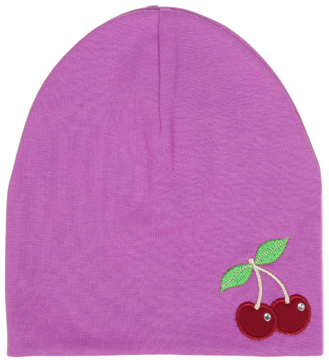 Шапка для девочки. DC3781-22DC3781-22_1Шапка для девочки ПриКиндер станет стильным дополнением к детскому гардеробу. Она выполнена из хлопка с добавлением лайкры, приятная на ощупь, идеально прилегает к голове. Изделие декорировано стразами и вышивкой в виде вишни. Современный дизайн и расцветка делают эту шапку модным детским аксессуаром. В такой шапке ваша принцесса будет чувствовать себя уютно, комфортно и всегда будет в центре внимания!