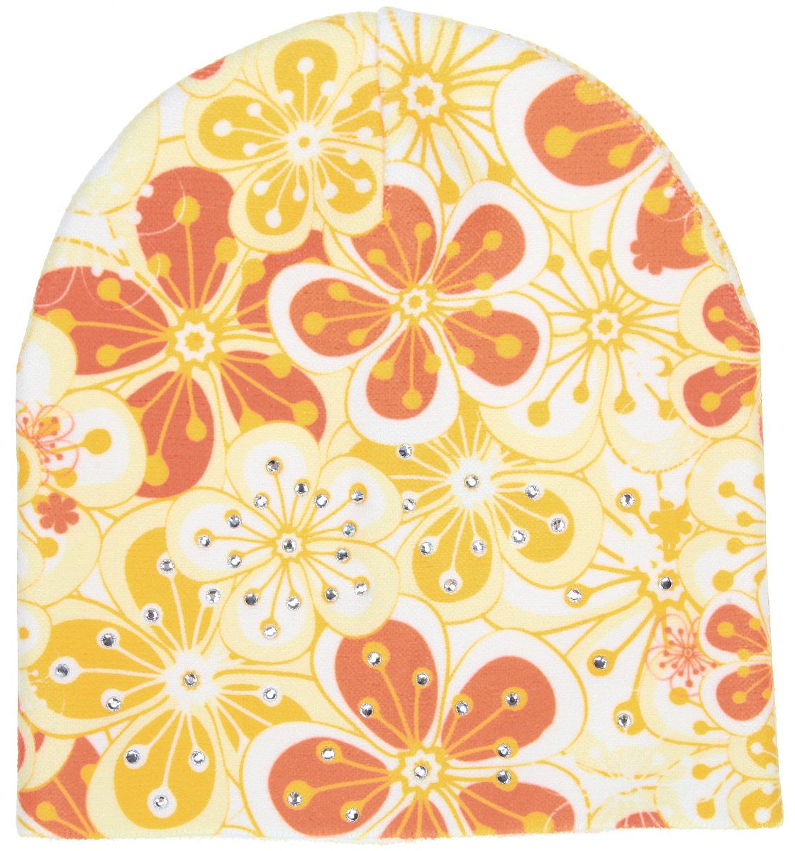 Шапка для девочки. D4737-22D4737-22-13Шапка для девочки Fishka станет стильным и красивым дополнением к детскому гардеробу. Шапка выполнена из мягкого эластичного материала, очень приятная на ощупь, идеально прилегает к голове. Изделие оформлено цветочным принтом, декорировано переливающимися стразами. Современный дизайн и расцветка делают эту шапку модным детским аксессуаром. В такой шапке ребенок будет чувствовать себя уютно, комфортно и всегда будет в центре внимания! Уважаемые клиенты! Размер, доступный для заказа, является обхватом головы.