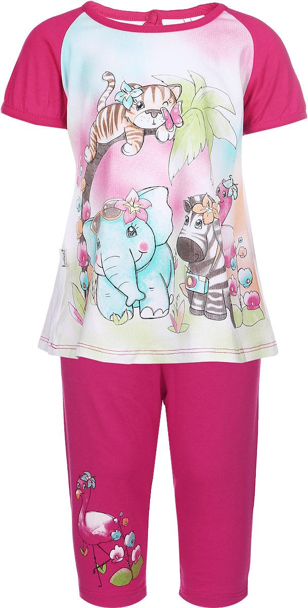 B800-5Комплект одежды для девочки Bibelo Baby включает в себя футболку и бриджи. Изготовленный из натурального хлопка, он мягкий и приятный на ощупь, не сковывает движения и позволяет коже дышать, обеспечивая комфорт. Футболка с круглым вырезом горловины и короткими рукавами-реглан застегивается сзади на пуговицу, что помогает при переодевании ребенка. Удлиненная модель футболки имеет трапециевидный силуэт. Рукава по краям слегка присборены. Изделие украшено принтом с изображением животных. Бриджи на поясе имеют мягкую трикотажную резинку, благодаря чему они не сдавливают животик ребенка и не сползают. Модель украшена принтом. В таком комплекте одежды маленькая модница будет чувствовать себя комфортно, уютно, а также всегда будет в центре внимания!