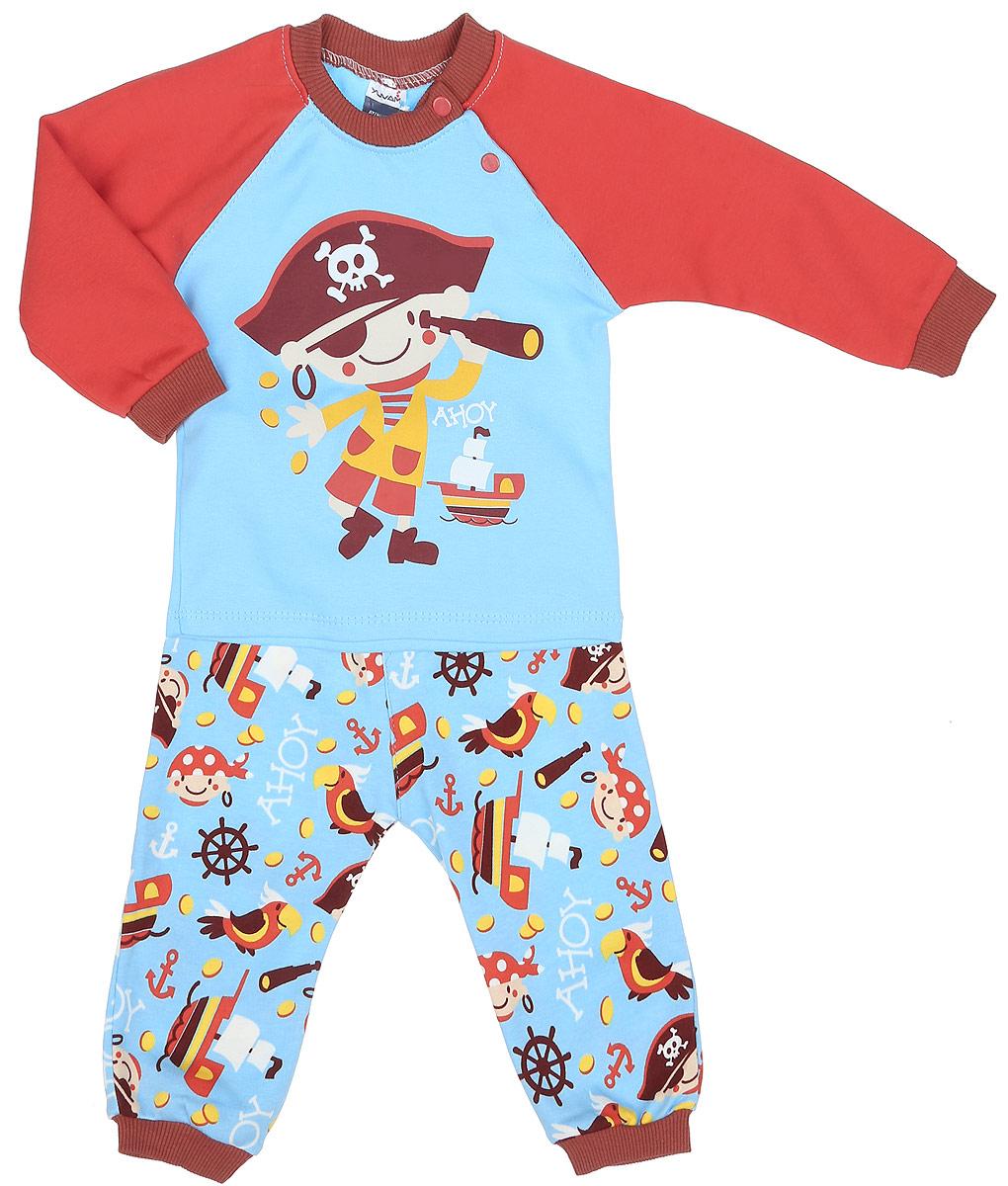 Комплект одежды1346-28Комплект одежды для мальчика Yuvam, состоящий из футболки с длинный рукавом и штанишек, станет отличным дополнением к детскому гардеробу. Комплект изготовлен из натурального хлопка, тактильно приятный, не раздражает нежную кожу ребенка и хорошо вентилируется, обеспечивая комфорт. Футболка с круглым вырезом горловины и длинными рукавами-реглан застегивается на кнопки по плечевому шву, что позволит легко переодеть малыша. Вырез горловины дополнен трикотажной резинкой. Штанишки имеют на поясе мягкую эластичную резинку, благодаря чему они не сдавливают животик ребенка и не сползают. На брючинах предусмотрены манжеты. Оформлено изделие принтом с изображением пирата. В таком комплекте ребенок всегда будет в центре внимания!