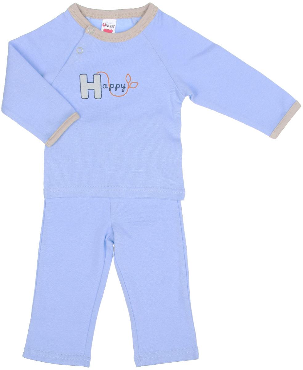 Комплект детский: футболка с длинным рукавом, штанишки. U977U977-10Комплект одежды Unigue, состоящий из футболки с длинный рукавом и штанишек, станет отличным дополнением к детскому гардеробу. Комплект изготовлен из натурального хлопка, тактильно приятный, не раздражает нежную кожу ребенка и хорошо вентилируется, обеспечивая комфорт. Футболка с круглым вырезом горловины и длинными рукавами застегивается на две кнопки, что позволит легко переодеть малыша. Вырез горловины дополнен трикотажной резинкой. Штанишки имеют на поясе мягкую эластичную резинку, благодаря чему они не сдавливают животик ребенка и не сползают. В таком комплекте ребенок всегда будет в центре внимания!