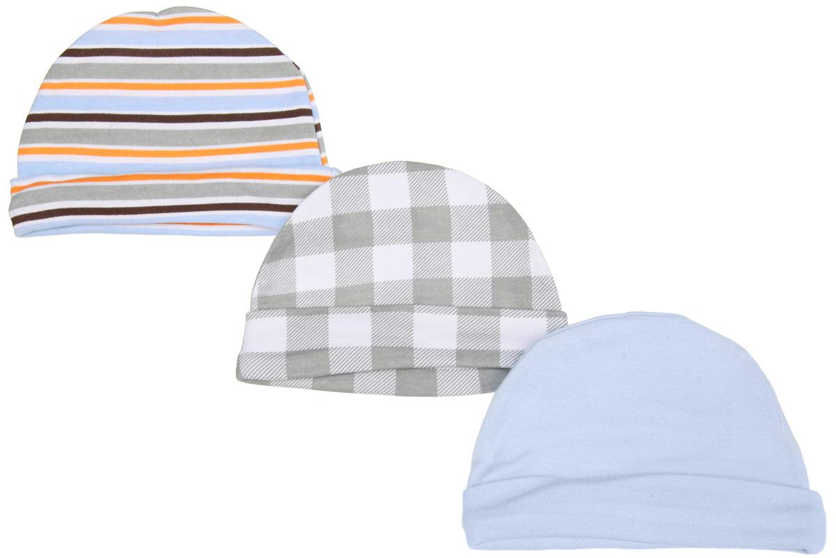 Шапочка34530Комфортная шапочка Luvable Friends Клетка станет отличным дополнением к гардеробу малыша. Изделие изготовлено из натурального хлопка, мягкое и приятное на ощупь, позволяет коже дышать. На шапочке предусмотрен декоративный отворот. В комплект входят три шапочки. Одна модель оформлена принтом в клетку, вторая - принтом в полоску, третья - однотонная. Шапочка необходима любому младенцу, она защищает еще не заросший родничок, щадит чувствительный слух малыша, прикрывая ушки, а также предохраняет от теплопотерь. В такой шапочке ваш ребенок будет чувствовать себя уютно и комфортно!