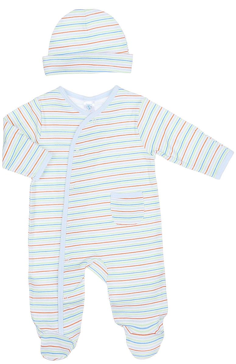 Комплект одеждыSL A7SКомплект для мальчика Spasilk, состоящий из комбинезона и шапочки, идеально подойдет вашему малышу. Изготовленный из 100% хлопка, он необычайно мягкий и приятный на ощупь, не сковывает движения ребенка и позволяет коже дышать, не раздражает даже самую нежную и чувствительную кожу малыша, обеспечивая наибольший комфорт. Комбинезон с длинными рукавами и закрытыми ножками имеет застежки-кнопки по всей длине, которые помогают с легкостью переодеть ребенка. Оформлено изделие принтом в полоску. Вырез горловины дополнен трикотажной эластичной резинкой. Спереди предусмотрен накладной карман. Шапочка защитит еще не заросший родничок вашего ребенка от сильного ветра и от палящего солнца. В таком комплекте ваш малыш будет чувствовать себя уютно и комфортно, и всегда будет в центре внимания.