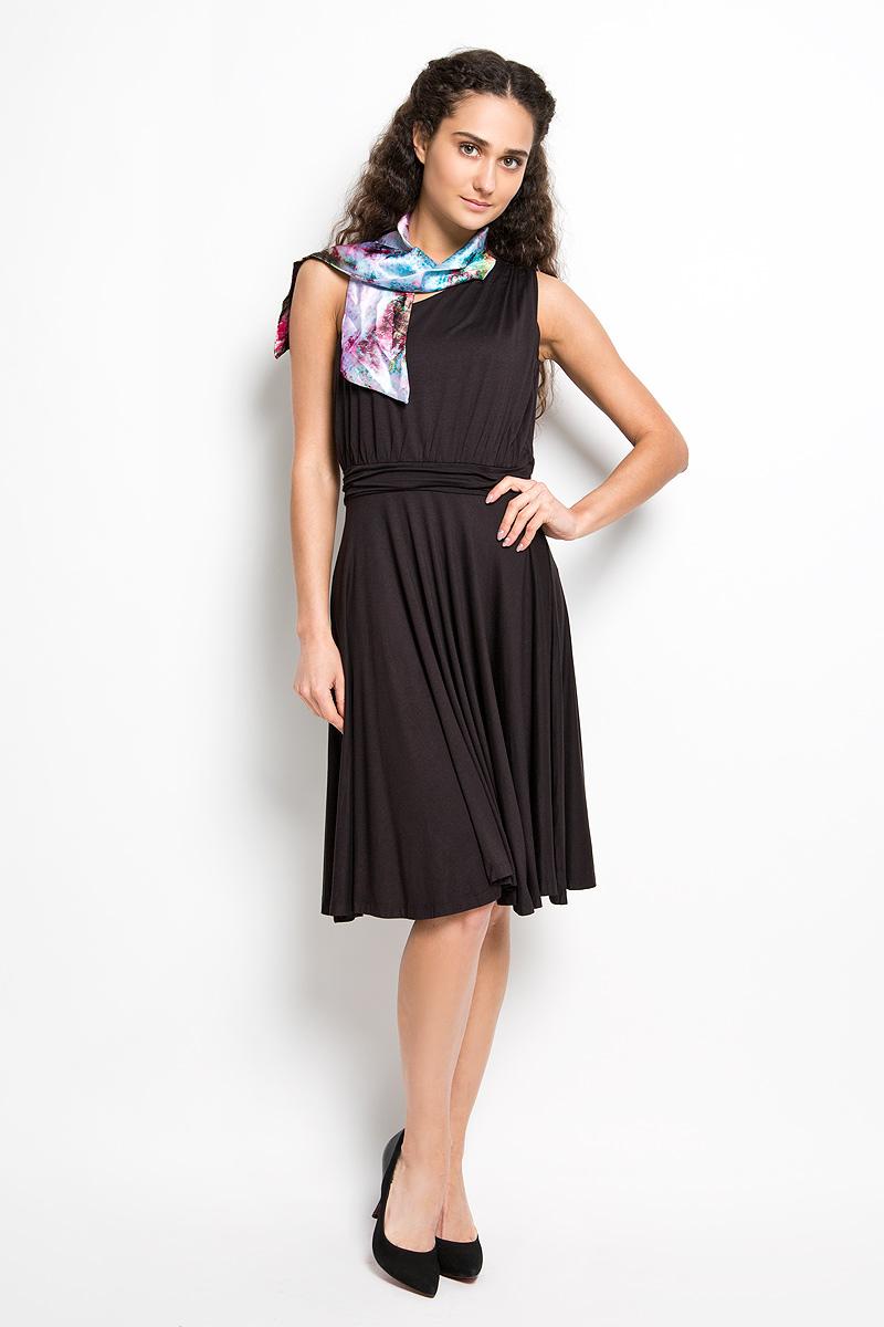 ПлатьеLD 009-01Прелестное трикотажное платье Karff подчеркнет ваш уникальный стиль и поможет создать оригинальный женственный образ. Модель прилегающего покроя с широкой юбкой оснащена лямкой на одно плечо. На линии талии и на плечевом шве платье дополнено декоративной сборкой, за счет этого оно красиво драпируется. Модель украшена драпированной вставкой на талии. В комплект входит ярким шарфик, который дополнит образ. Такое платье станет стильным дополнением к вашему гардеробу.