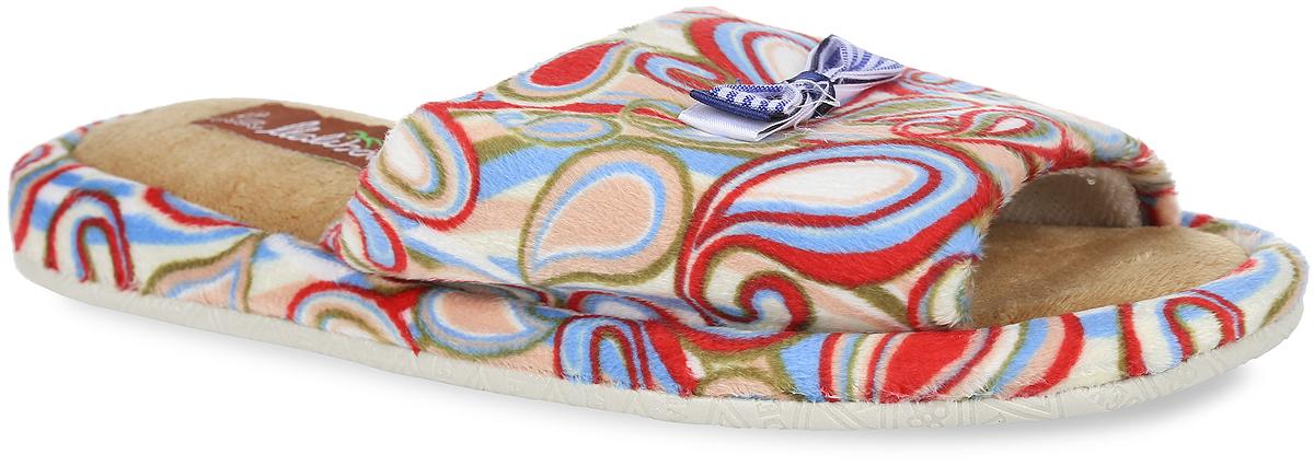 Тапки женские. DX05-5836DX05-5836_жНевероятно удобные женские тапки от Lamaliboo, выполненные из текстиля, помогут отдохнуть вашим ножкам после трудового дня. Верх изделия и боковые стороны подошвы тапок оформлены яркими узорами. Подъем украшен милым бантиком. Подкладка и стелька, изготовленные из ворсистого текстиля, комфортны при ходьбе. Подошва с рельефным протектором обеспечивает сцепление с любыми поверхностями.