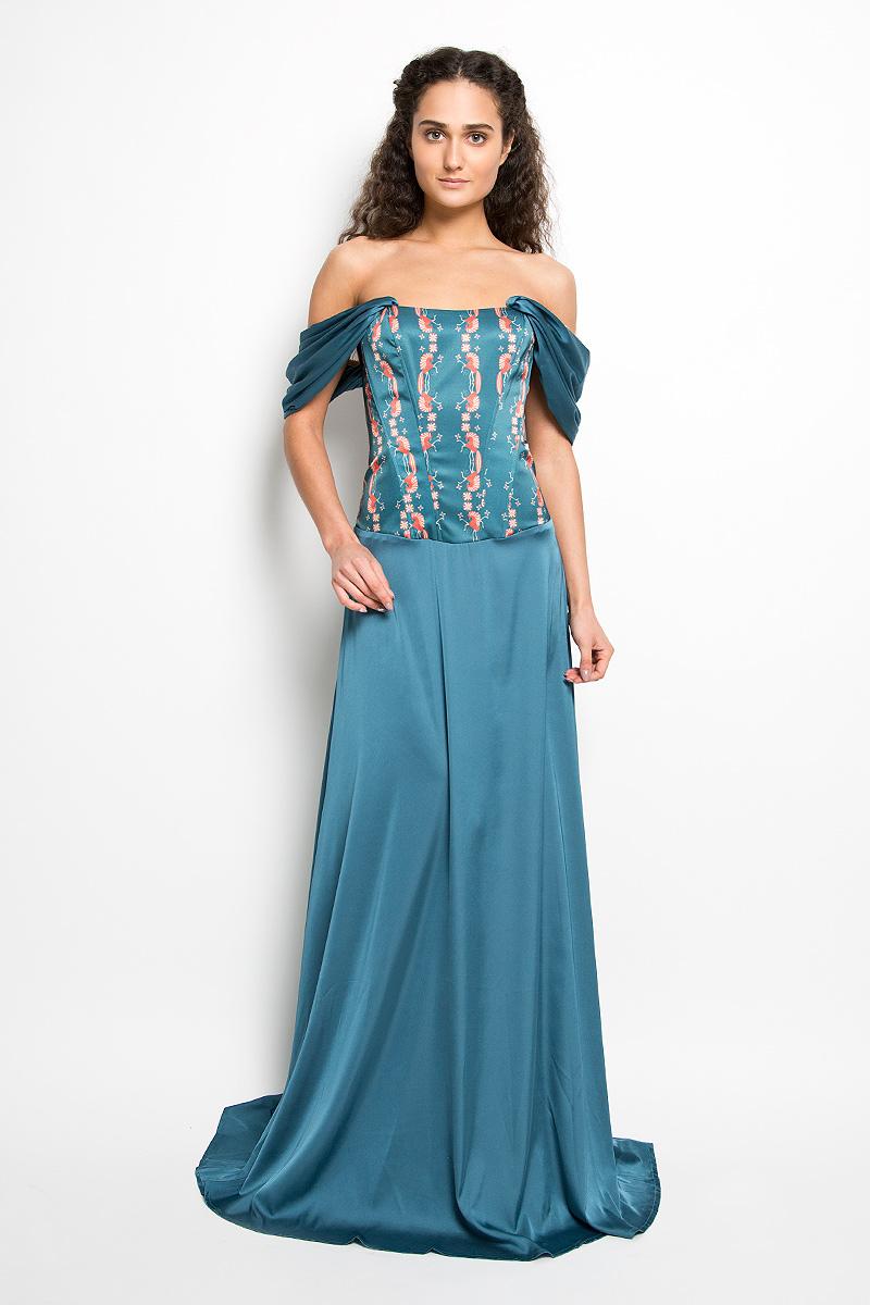 ПлатьеP38A-B8-1Великолепное платье Анна Чапман, выполненное из нежнейшей ткани, покорит вас с первого взгляда. Застегивается модель на застежку-молнию. Верх платья, выполненный в виде корсета, идеально облегает фигуру. Платье имеет пришивную расклешенную юбку-макси. Модель оснащена двумя объемными декоративными бретелями, которые ниспадают на плечи. Верхняя часть платья украшена изображением лошадей. Такое платье станет стильным дополнением к вашему гардеробу.