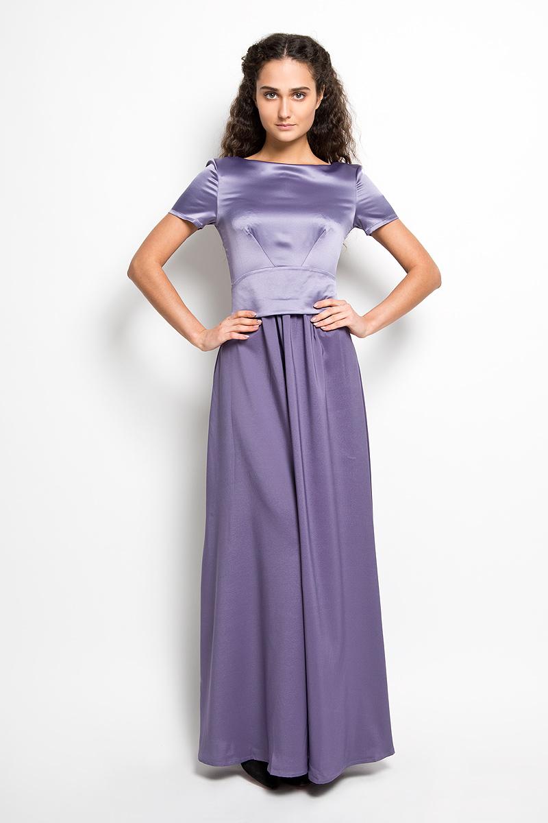 ПлатьеP41S-WВеликолепное платье Анна Чапман, выполненное из нежнейшей ткани, покорит вас с первого взгляда. Модель с круглым вырезом горловины и короткими рукавами застегивается сзади на потайную застежку-молнию. Плате дополнено вставкой и поясом контактного цвета. В боковом шве обработана потайная застежка-молния. Платье имеет пришивную расклешенную юбку-макси. К платью прилагается широкуий атласный пояс. Такое платье станет стильным дополнением к вашему гардеробу.