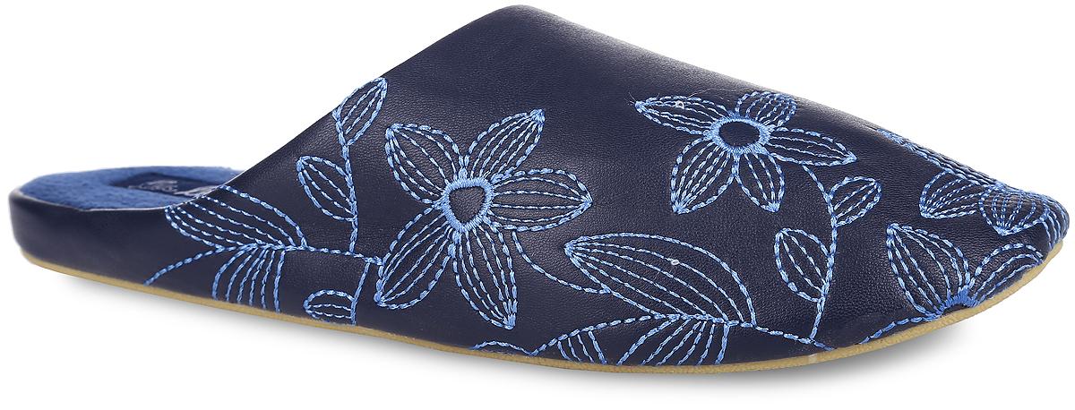 Тапки женские. 14S5114S-251_кУдобные женские тапки от Lamaliboo помогут отдохнуть вашим ногам после трудового дня. Верх тапок выполнен из искусственной кожи и оформлен оригинальной цветочной вышивкой. Подкладка и стелька, изготовленные из ворсистого текстиля, комфортны при ходьбе. Подошва с рельефным протектором обеспечивает сцепление с любыми поверхностями. Такие тапочки придутся вам по душе.