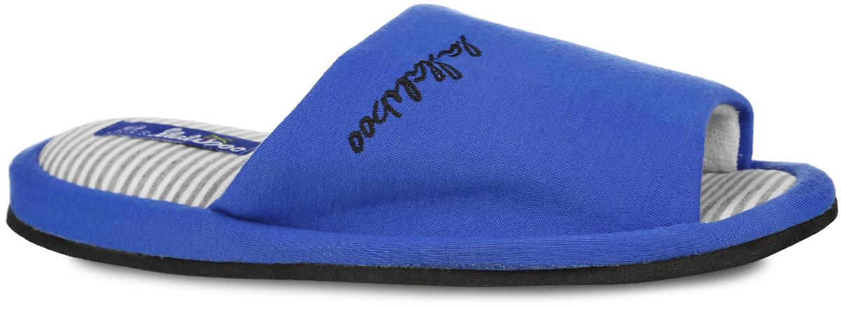 Тапки женские. SW46SW-14-16_гНевероятно удобные женские тапочки от Lamaliboo, выполненные из текстиля, помогут отдохнуть вашим ногам после трудового дня. Внешняя сторона изделия оформлена фирменной вышивкой, стелька - принтом в полоску. Подкладка и стелька, изготовленные из текстиля, комфортны при ходьбе. Подошва с рельефным протектором обеспечивает сцепление с любыми поверхностями. Отверстия в подошве обеспечивают лучшую воздухопроницаемость. Такие тапочки придутся вам по душе.