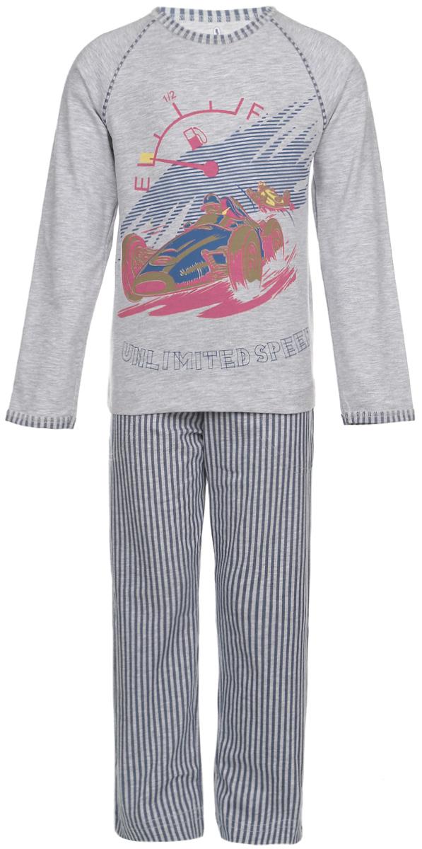 Пижама для мальчика. N9075-82N9075-82Мягкая пижама для мальчика Baykar, состоящая из футболки с длинным рукавом и брюк, идеально подойдет ребенку для отдыха и сна. Модель выполнена из эластичного хлопка, очень приятная к телу, не сковывает движения, хорошо пропускает воздух. Футболка с круглым вырезом горловины и длинными рукавами-реглан украшена крупным принтом с изображением гонщика и принтовой надписью. Вырез горловины и края рукавов оформлены принтованной окантовкой. Плоские эластичные швы изделия обеспечивают комфорт и не вызывают раздражений. Брюки на талии имеют мягкую резинку, благодаря чему они не сдавливают животик ребенка и не сползают. Спереди расположены два втачных кармана. Изделие оформлено принтом в полоску. В такой пижаме ребенок будет чувствовать себя комфортно и уютно!