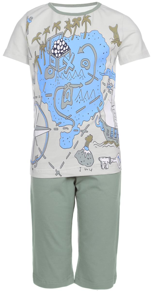 ПижамаN9077113-22Мягкая пижама для мальчика Baykar, состоящая из футболки и шорт, идеально подойдет ребенку для отдыха и сна. Модель выполнена из эластичного хлопка, очень приятная к телу, не сковывает движения, хорошо пропускает воздух. Футболка с круглым вырезом горловины и короткими рукавами оформлена крупным принтом спереди. Вырез горловины дополнен бейкой контрастного цвета. Удлиненные шорты на талии имеют мягкую резинку, благодаря чему они не сдавливают животик ребенка и не сползают. Спереди расположены два втачных кармана. В такой пижаме ребенок будет чувствовать себя комфортно и уютно!