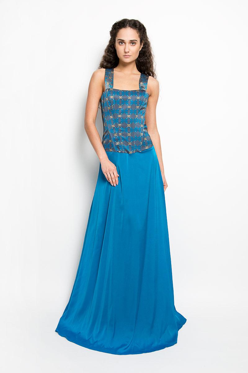 ПлатьеP38A-C11Великолепное платье Анна Чапман, выполненное из нежнейшей ткани, покорит вас с первого взгляда. Застегивается модель на застежку-молнию. Верх платья, выполненный в виде корсета, идеально облегает фигуру. Платье имеет пришивную расклешенную юбку-макси. Модель оснащена двумя лямками, которые пересекаются на спине. Верхняя часть платья украшена оригинальным орнаментом с изображением лягушек. Такое платье станет стильным дополнением к вашему гардеробу.