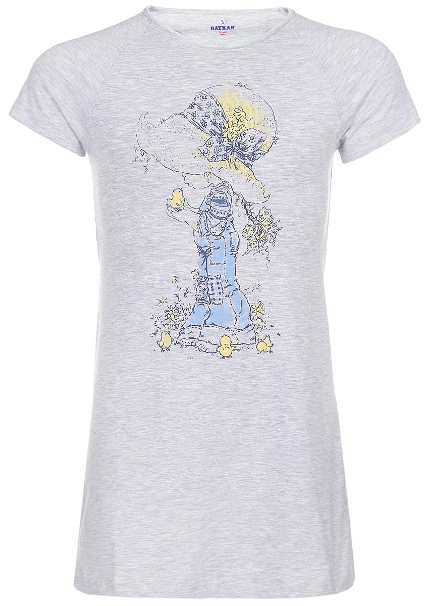 Ночная сорочка для девочки. N9044220N9044220-22/N9044220A-22Ночная сорочка для девочки Baykar станет идеальным дополнением к детскому гардеробу. Изготовленная из эластичного хлопка, она необычайно мягкая и приятная на ощупь, не сковывает движения и позволяет коже дышать, обеспечивая комфорт. Сорочка с круглым вырезом горловины и короткими рукавами-реглан имеет трапециевидный крой. Модель оформлена принтом с изображением девочки. В такой сорочке ваша маленькая принцесса будет чувствовать себя комфортно и уютно во время сна.