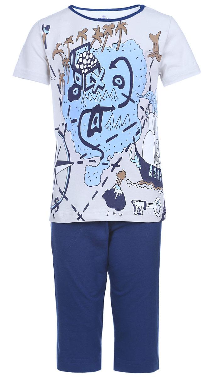 N9077113-22Мягкая пижама для мальчика Baykar, состоящая из футболки и шорт, идеально подойдет ребенку для отдыха и сна. Модель выполнена из эластичного хлопка, очень приятная к телу, не сковывает движения, хорошо пропускает воздух. Футболка с круглым вырезом горловины и короткими рукавами оформлена крупным принтом спереди. Вырез горловины дополнен бейкой контрастного цвета. Удлиненные шорты на талии имеют мягкую резинку, благодаря чему они не сдавливают животик ребенка и не сползают. Спереди расположены два втачных кармана. В такой пижаме ребенок будет чувствовать себя комфортно и уютно!