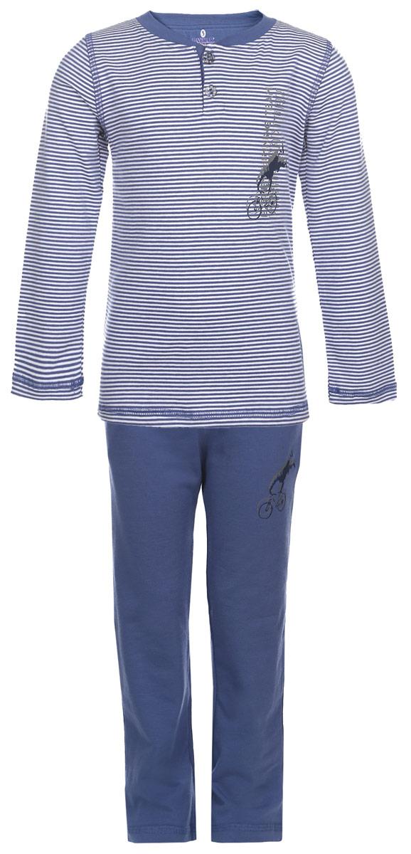 Пижама для мальчика. N9051-11N9051-11Мягкая пижама для мальчика Baykar, состоящая из футболки с длинным рукавом и брюк, идеально подойдет ребенку для отдыха и сна. Модель выполнена из эластичного хлопка, очень приятная к телу, не сковывает движения, хорошо пропускает воздух. Футболка с круглым вырезом горловины и длинными рукавами застегивается спереди на две пуговицы. Плоские эластичные швы изделия обеспечивают комфорт и не вызывают раздражений. Модель оформлена принтом в полоску. Брюки на талии имеют мягкую резинку, благодаря чему они не сдавливают животик ребенка и не сползают. Спереди расположены два втачных кармана. Пижама украшена термоаппликациями. В такой пижаме ребенок будет чувствовать себя комфортно и уютно!