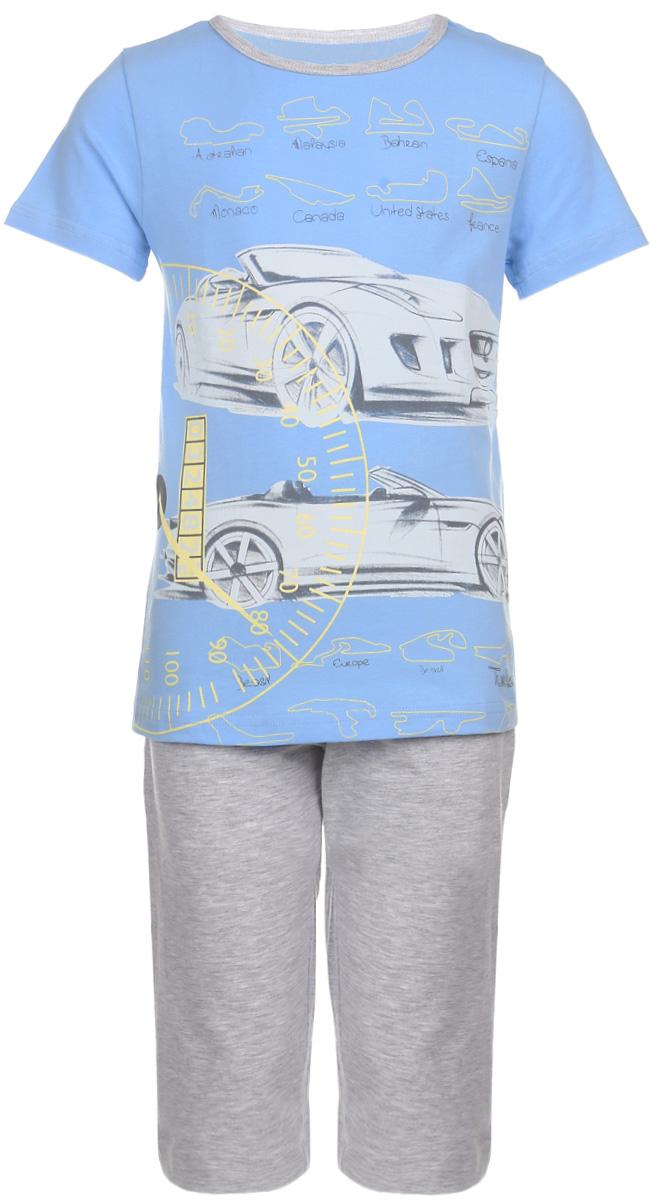ПижамаN9078113-22/N9078207B-22Мягкая пижама для мальчика Baykar, состоящая из футболки и шорт, идеально подойдет ребенку для отдыха и сна. Модель выполнена из эластичного хлопка, очень приятная к телу, не сковывает движения, хорошо пропускает воздух. Футболка с круглым вырезом горловины и короткими рукавами украшена термоаппликацией в виде машин и принтовыми надписями. Вырез горловины дополнен бейкой контрастного цвета. Удлиненные шорты на талии имеют мягкую резинку, благодаря чему они не сдавливают животик ребенка и не сползают. Спереди расположены два втачных кармана. В такой пижаме ребенок будет чувствовать себя комфортно и уютно!