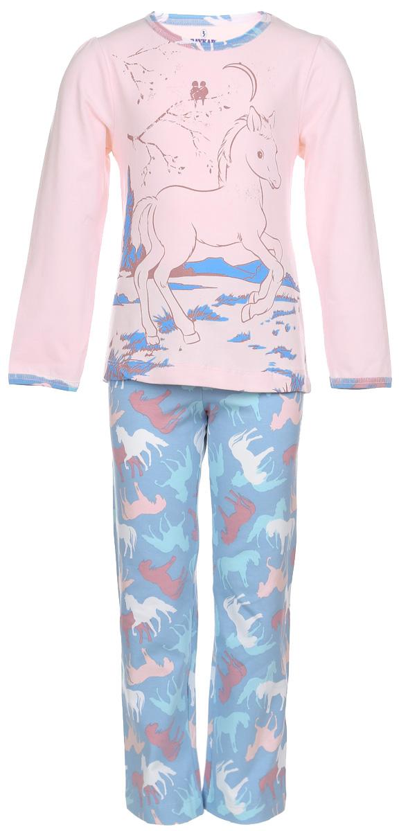 ПижамаN9033-5Мягкая пижама для девочки Baykar, состоящая из футболки с длинным рукавом и брюк, идеально подойдет ребенку для отдыха и сна. Модель выполнена из эластичного хлопка, очень приятная к телу, не сковывает движения, хорошо пропускает воздух. Футболка с круглым вырезом горловины и длинными рукавами-фонариками украшена принтом с изображением лошадки, а также блестящим напылением. Вырез горловины и края рукавов оформлены принтованной окантовкой. Плоские эластичные швы изделия обеспечивают комфорт и не вызывают раздражений. Брюки на талии имеют мягкую резинку, благодаря чему они не сдавливают животик ребенка и не сползают. Изделие оформлено принтом с изображением лошадей по всей поверхности. В такой пижаме маленькая принцесса будет чувствовать себя комфортно и уютно!