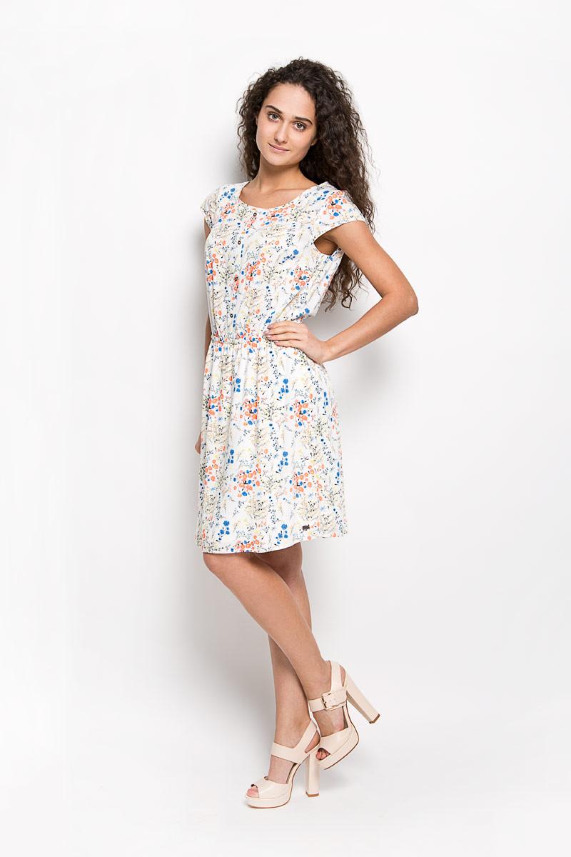 Платье5019176.01.71_7701Оригинальное платье Tom Tailor Denim станет ярким и стильным дополнением к вашему гардеробу. Изделие выполнено из 100% вискозы, приятное к телу, не сковывает движения и хорошо вентилируется. Модель с круглым вырезом горловины и короткими рукавами. Платье спереди дополнено декоративной планкой с пуговицами, а сзади - ажурной вставкой. По линии талии изделие собрано на резинку. Юбка дополнена подкладкой из полиэстера. Изделие оформлено оригинальным принтом и небольшой металлической нашивкой с названием бренда. Это эффектное платье поможет создать привлекательный женственный образ.
