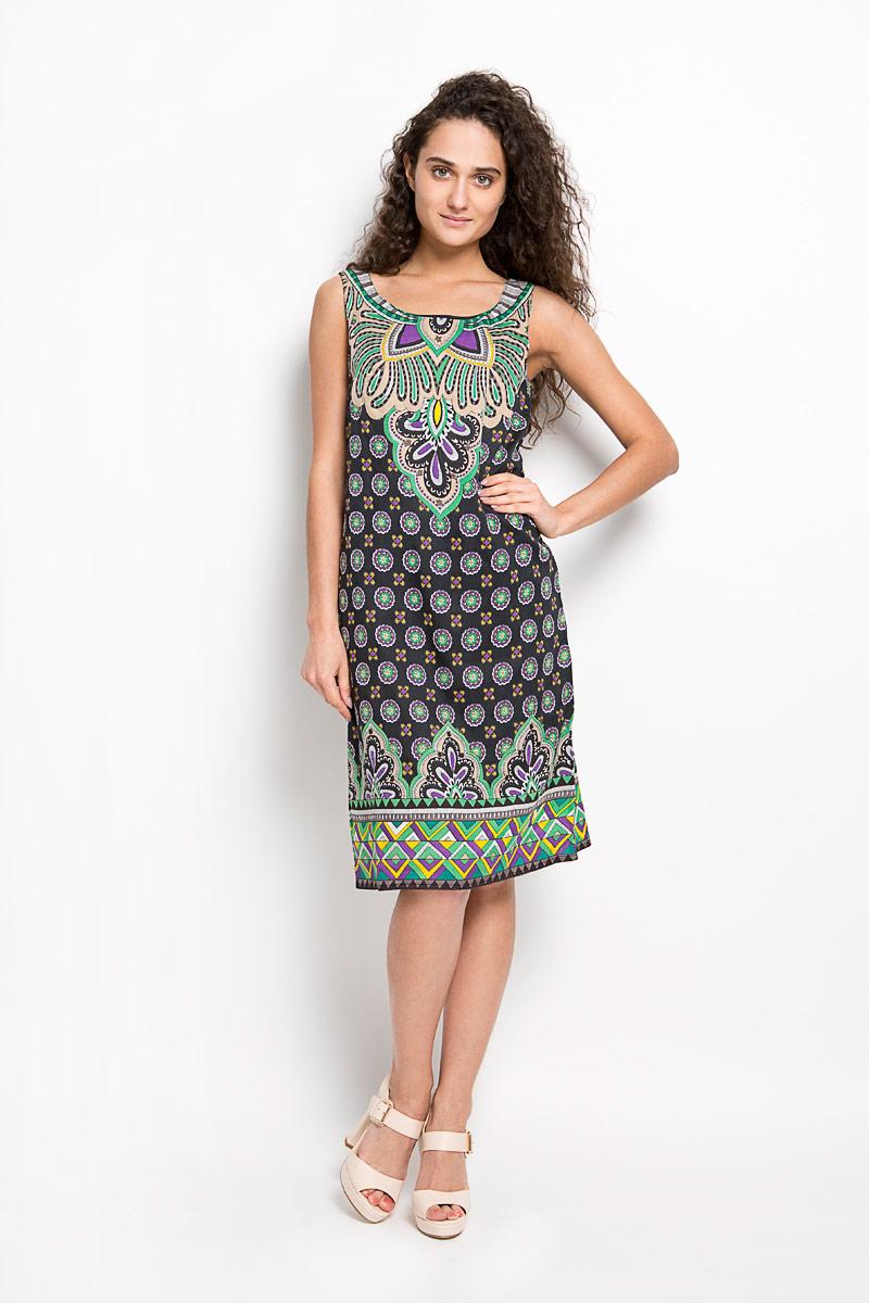 ПлатьеS16-14080Оригинальное платье Finn Flare станет ярким и стильным дополнением к вашему гардеробу. Изделие выполнено из 100% вискозы на тонкой подкладке из натурального хлопка, приятное к телу, не сковывает движения и хорошо вентилируется. Модель с круглым вырезом горловины и без рукавов застегивается на потайную застежку-молнию в левом боковом шве. По всей длине изделие оформлено оригинальным орнаментом. Это эффектное платье поможет создать привлекательный женственный образ.