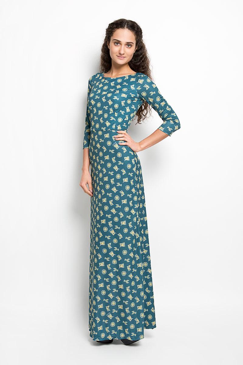 P20E-29Великолепное платье Анна Чапман, выполненное из нежнейшей ткани, идеально сидит благодаря правильным выточкам. Платье-макси приталенного кроя с круглым вырезом горловины и рукавами 3/4 подойдет как для вечернего выхода, так и на каждый день. Платье украшено оригинальным принтом. Спинка оформлена V-образным вырезом. Такое платье станет стильным дополнением к вашему гардеробу, оно подарит вам комфорт в течение всего дня!