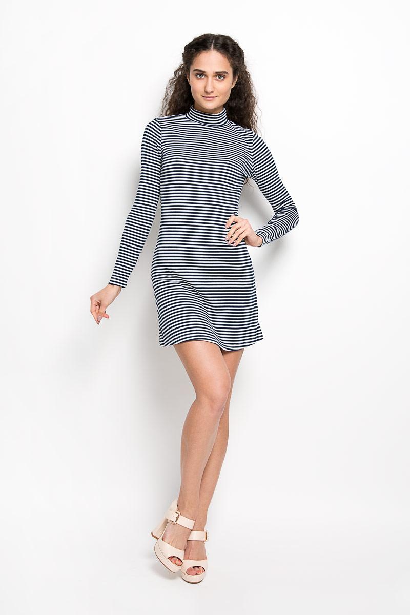 ПлатьеCK2926Оригинальное платье Glamorous станет ярким и стильным дополнением к вашему гардеробу. Изделие выполнено из полиэстера с добавлением хлопка и эластана, приятное к телу, не сковывает движения и хорошо вентилируется. Модель длинными рукавами и воротником-стойкой. Платье оформлено принтом в полоску. Такое платье поможет создать яркий и привлекательный образ, в нем вам будет удобно и комфортно.