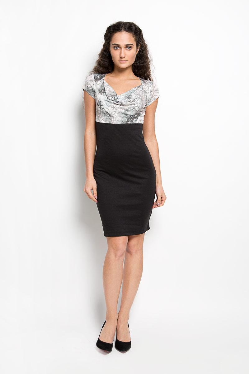LD 003-02Оригинальное платье Karff станет ярким и стильным дополнением к вашему гардеробу. Изделие выполнено из вискозы с добавлением лайкры, приятное к телу, не сковывает движения и хорошо вентилируется. Модель приталенного кроя с воротником-качелью и короткими рукавами. Платье-миди в верхней части оформлено оригинальным цветочным принтом. Это эффектное платье поможет создать привлекательный женственный образ.