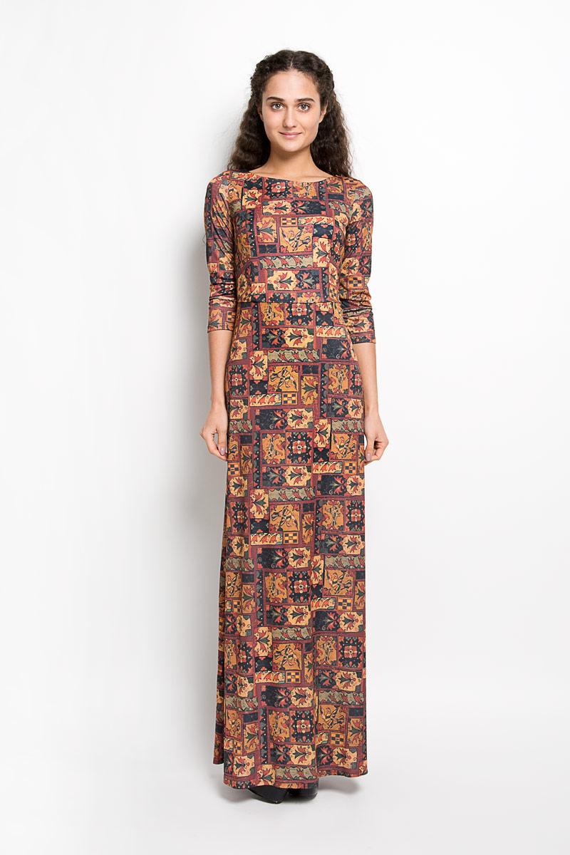ПлатьеP20E-27Великолепное платье Анна Чапман, выполненное из нежнейшей ткани, идеально сидит благодаря правильным выточкам. Платье-макси приталенного кроя с круглым вырезом горловины и рукавами 3/4 подойдет как для вечернего выхода, так и на каждый день. Платье украшено оригинальным принтом. Спинка оформлена V-образным вырезом. Такое платье станет стильным дополнением к вашему гардеробу, оно подарит вам комфорт в течение всего дня!