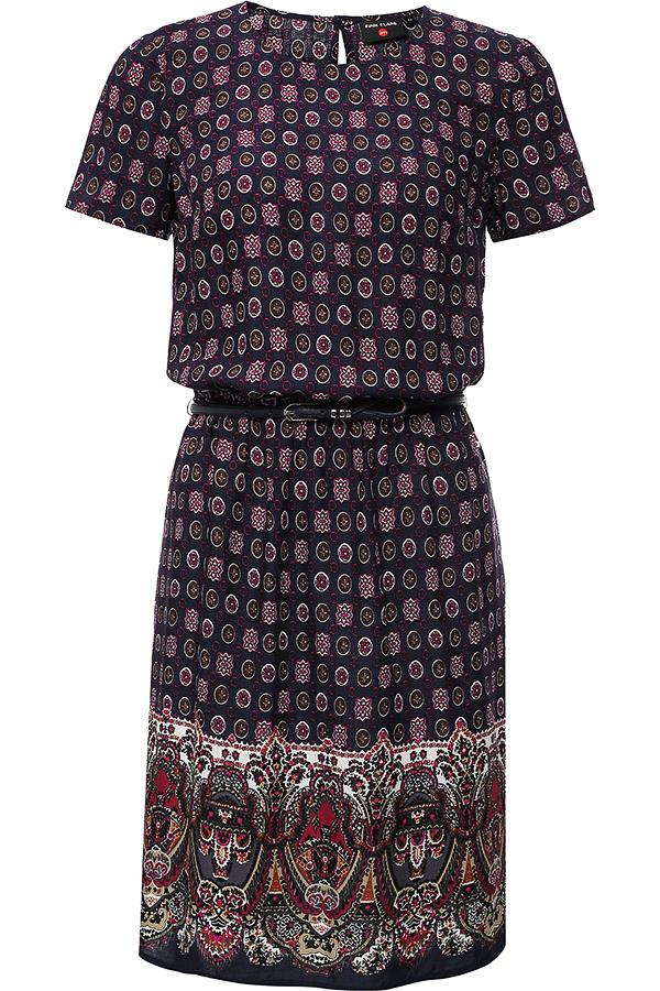 ПлатьеS16-32020Модное платье Finn Flare поможет создать отличный современный образ. Модель, изготовленная из вискозы, застегивается на пуговицу, расположенную на спинке. Платье-миди с круглым вырезом горловины и короткими рукавами присборено резинкой на талии. Модель оформлена оригинальным принтом. Нижняя часть модели по боковым швам дополнена небольшими разрезами. В комплект входит стильный ремень.