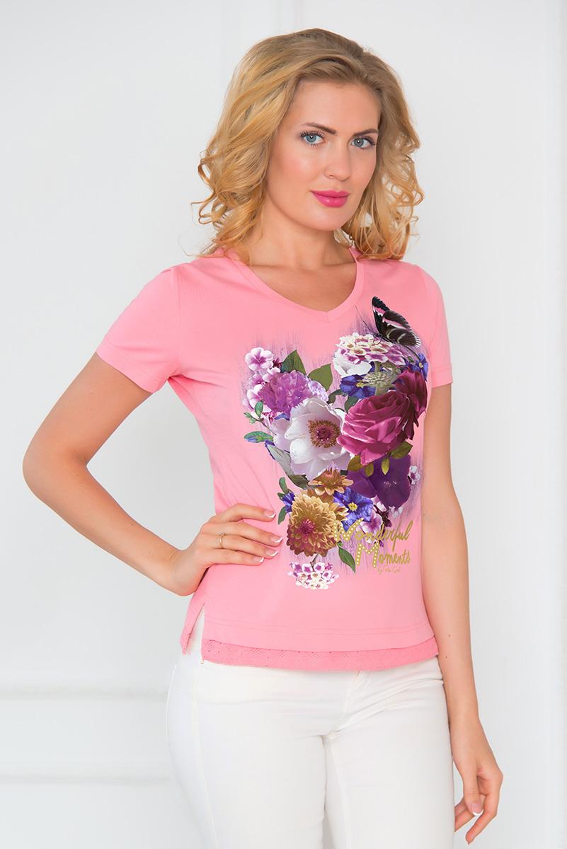 ФутболкаSS16-BGUZ-546Стильная женская футболка BeGood изготовлена из эластичного хлопка. Классическая модель с короткими рукавами и V-образным вырезом горловины оформлена оригинальным цветочным принтом и стразами. Низ изделия украшен ажурной оборкой. По бокам футболка дополнена небольшими разрезами.