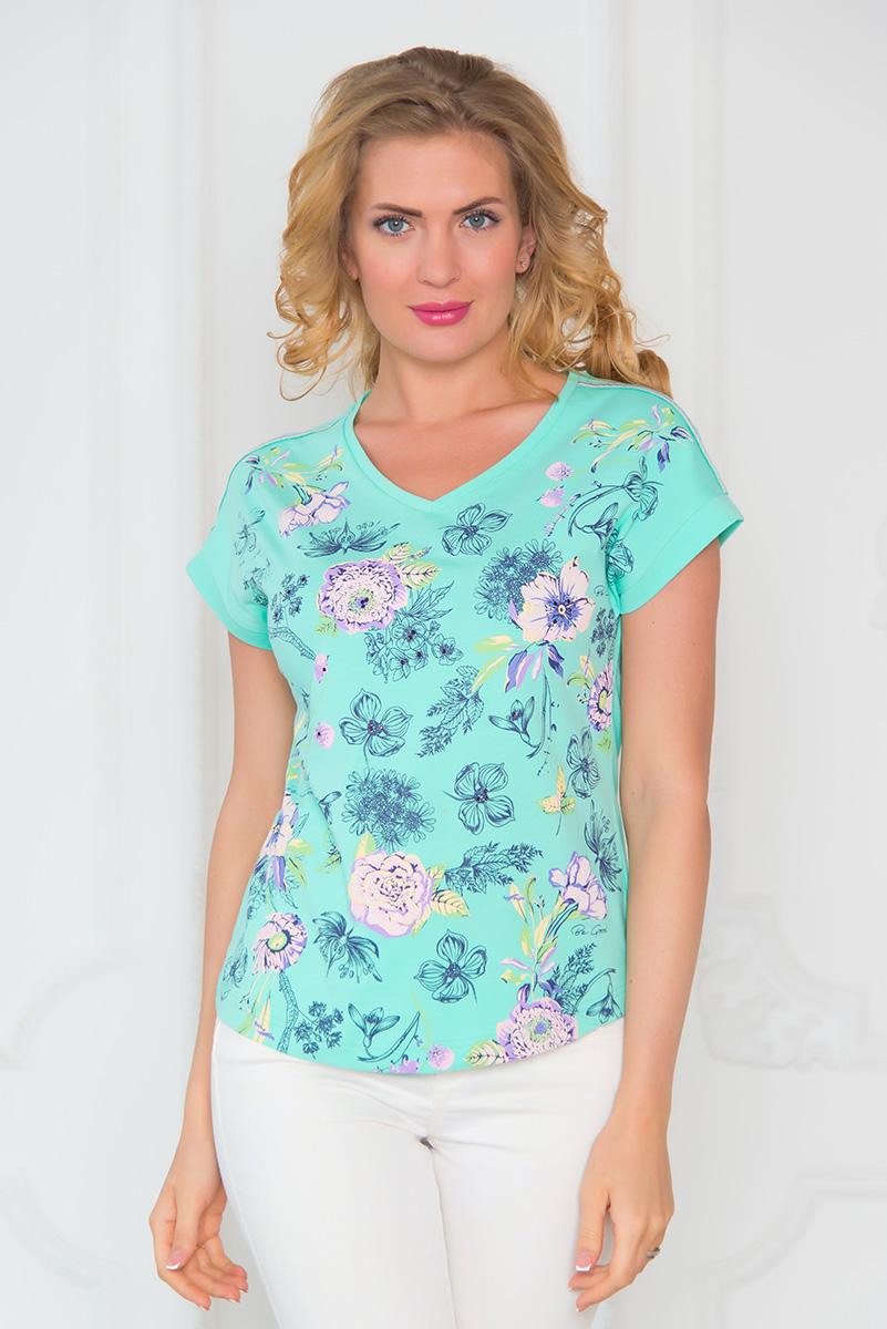 ФутболкаSS16-BGUZ-543Стильная женская футболка BeGood изготовлена из эластичного хлопка. Приталенная модель с V-образным вырезом горловины и короткими цельнокроенными рукавами оформлена цветочным принтом и декорирована стразами.