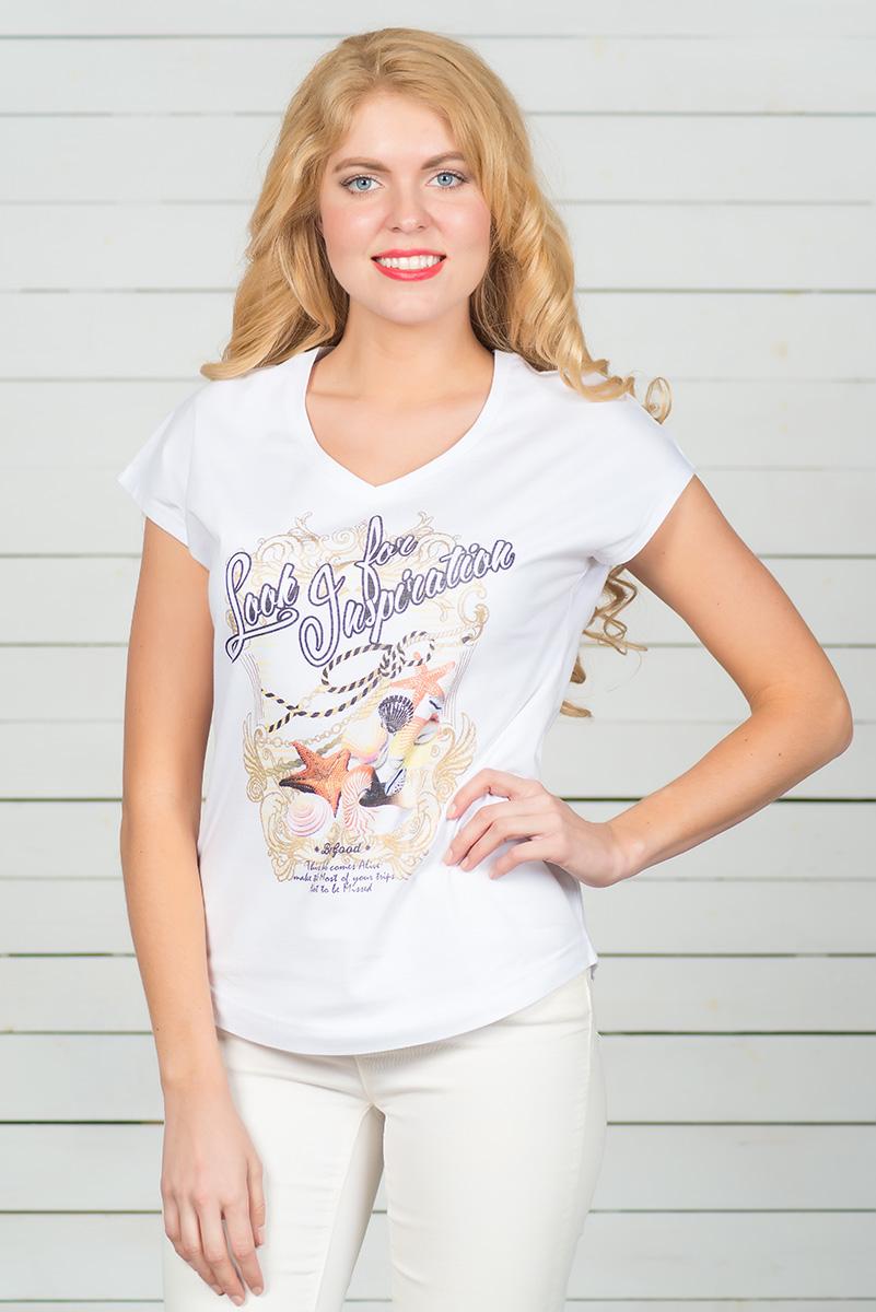 ФутболкаSS16-BGUZ-513Стильная женская футболка BeGood, выполненная из эластичного хлопка, обладает высокой теплопроводностью, воздухопроницаемостью и гигроскопичностью, позволяет коже дышать. Модель с короткими цельнокроеными рукавами и V-образным вырезом горловины - идеальный вариант для создания стильного современного образа. Футболка оформлена ярким принтом. По низу модель имеет закругленную форму.