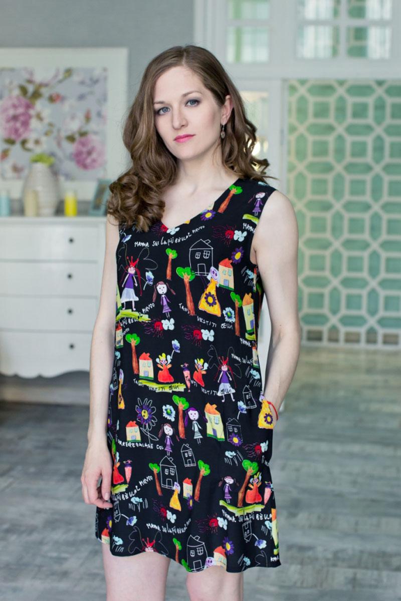 71171108Стильное женское платье MARUSЯ А-силуэта выполнено из 100% вискозы. Модель без рукавов и с V- образным вырезом горловины оформлена оригинальным принтом в виде акварельного рисунка.