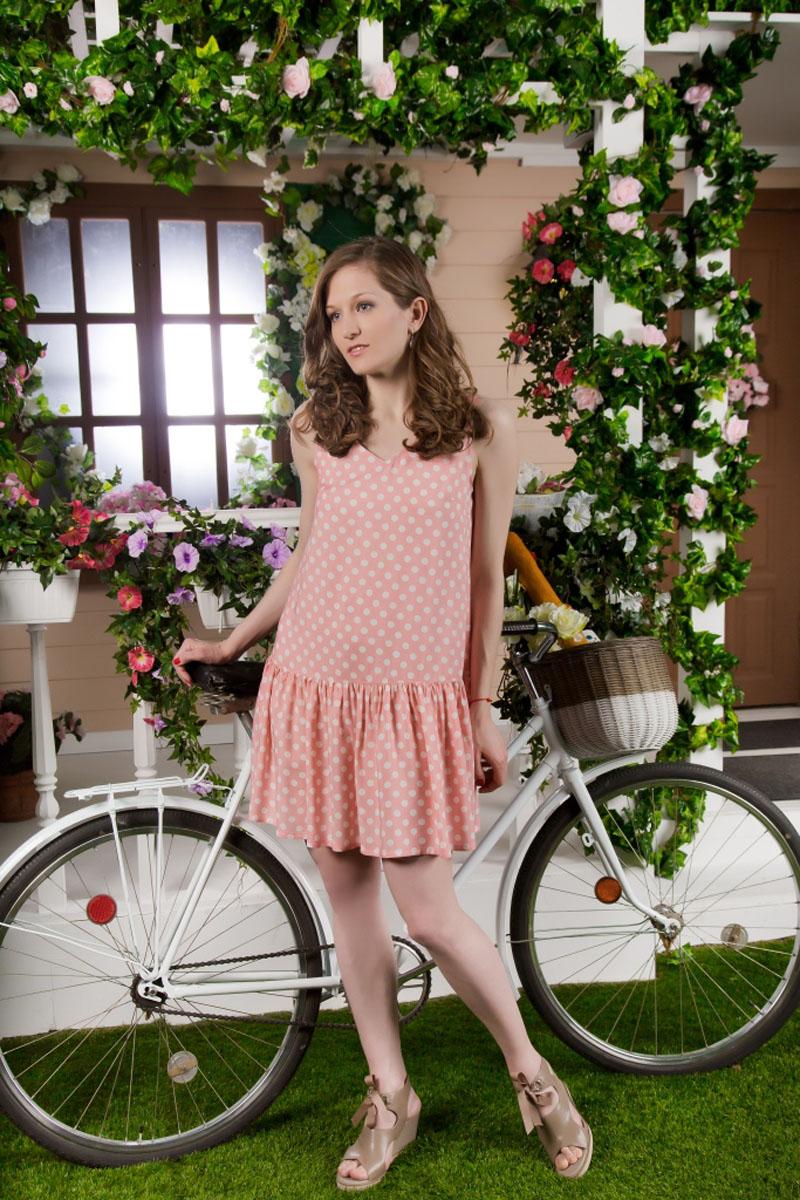 71171101Стильное легкое платье MARUSЯ выполнено из 100% вискозы. Модель без рукавов и с V-образным вырезом горловины оформлено принтом в горох.