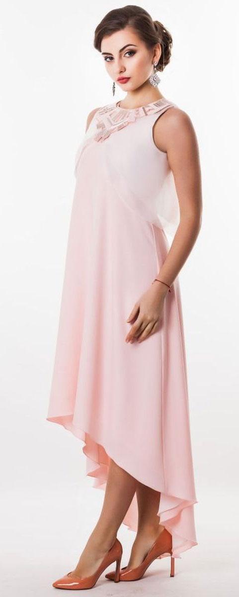 Платье4630_401Стильное платье Seam, выполненное из струящегося легкого материала, подчеркнет ваш уникальный стиль и поможет создать оригинальный женственный образ. Платье-макси свободного кроя с круглым вырезом горловины придется вам по душе. Верхняя часть спинки дополнена V-образным вырезом. Нижняя часть модели спереди укорочена. Платье оснащено съемной полупрозрачной накидкой, которая дополнена декоративной нашивкой, оформленной вышивкой и пайетками. Застегивается накидка на пуговицу. Такое платье станет стильным дополнением к вашему гардеробу.