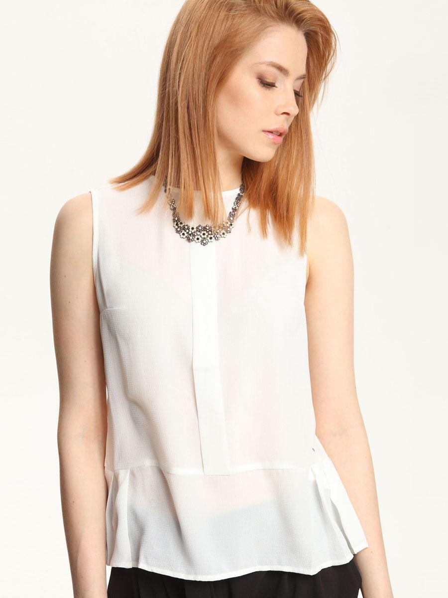 БлузкаTBK0074BIМодная женская блузка Troll, изготовленная из полиэстера с добавлением спандекса, приятная на ощупь, не сковывает движений и обеспечивает наибольший комфорт. Модель с круглым вырезом горловины и без рукавов застегивается на металлическую пуговицу, расположенную на спинке.