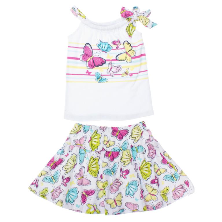 Комплект для девочки: майка, юбка. 162172162172Комплект одежды для девочки PlayToday, состоящий из майки и юбки, станет отличным дополнением к гардеробу маленькой принцессы. Мягкий комплект одежды изготовлен из эластичного хлопка, не раздражает нежную кожу ребенка и хорошо вентилируется, обеспечивая комфорт. В качестве бретелей на майке используются завязки, которые регулируются по длине. Модель оформлена принтом в полоску, украшена изображением бабочек. Юбка имеет на поясе мягкую эластичную резинку, благодаря чему она не сдавливает животик ребенка и не сползает. На юбке предусмотрены мелкие складки, придающие изделию воздушность. Юбка оформлена принтом с изображением бабочек. В таком комплекте маленькая модница всегда будет в центре внимания!