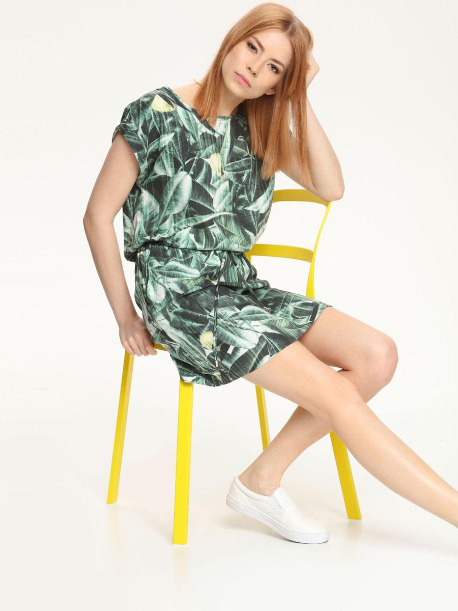 ПлатьеDSU0042ZI[E]Платье Drywash изготовлено из 100% вискозы. Платье с короткими рукавами и круглым вырезом горловины оформлено принтом в виде листьев. На талии изделие дополнено текстильным шнурком. По бокам расположены прорезные карманы.